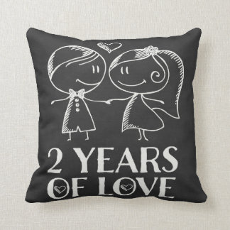 2nd Anniversary Chalk Couple Gift Pillow