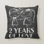 "2nd Anniversary Chalk Couple Gift Throw Pillow<br><div class=""desc"">This darling 2nd anniversary gift pillow has line drawing chalk married couple with heart and 2 Years of Love quote,  and makes a great keepsake idea.</div>"