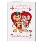 2nd anniversary congratulations -cute mice anniver greeting card