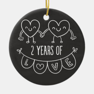 2nd Anniversary Gift For Her Chalk Hearts Hand Dra Ceramic Ornament