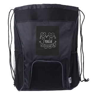 2nd Anniversary Gift For Her Chalk Hearts Hand Dra Drawstring Backpack