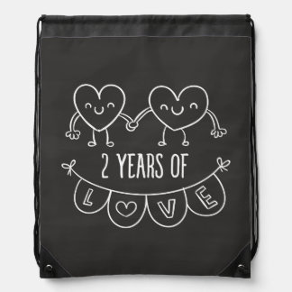 2nd Anniversary Gift For Her Chalk Hearts Hand Dra Drawstring Bag