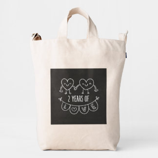 2nd Anniversary Gift For Her Chalk Hearts Hand Dra Duck Bag