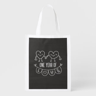 2nd Anniversary Gift For Her Chalk Hearts Hand Dra Grocery Bag