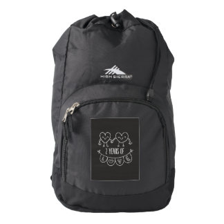 2nd Anniversary Gift For Her Chalk Hearts Hand Dra High Sierra Backpack