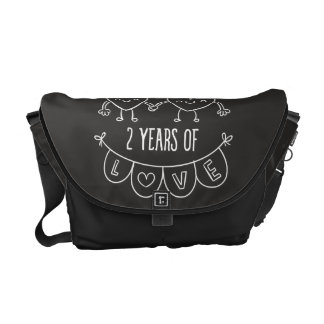2nd Anniversary Gift For Her Chalk Hearts Hand Dra Messenger Bag