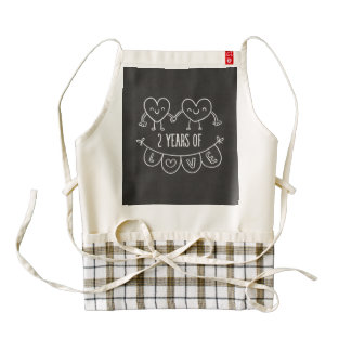 2nd Anniversary Gift For Her Chalk Hearts Hand Dra Zazzle HEART Apron