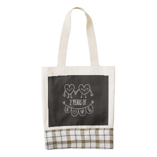 2nd Anniversary Gift For Her Chalk Hearts Hand Dra Zazzle HEART Tote Bag