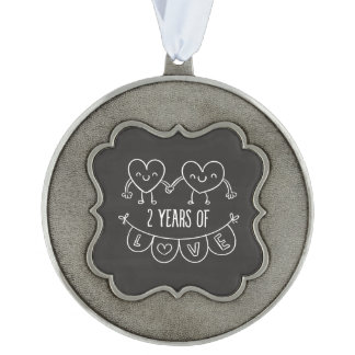 2nd Anniversary Gift For Her Chalk Hearts   P2 Pewter Ornament