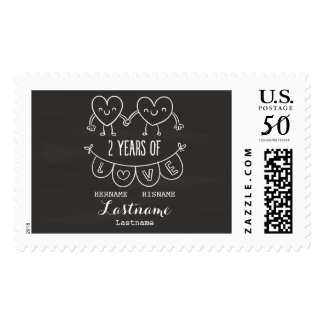 2nd Anniversary Gift For Her Chalk Personalized Postage