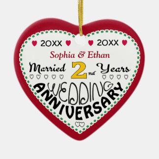 2nd Anniversary Gift Heart Shaped Christmas Ceramic Ornament
