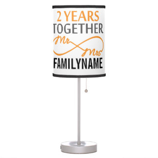 2nd Anniversary Mr. & Mrs Infinity Personalized Table Lamp