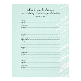 2nd Anniversary Party Guest Book Sign-In Page Letterhead