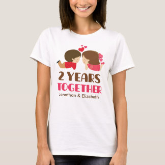 2nd Anniversary Personalized Couples T-shirt