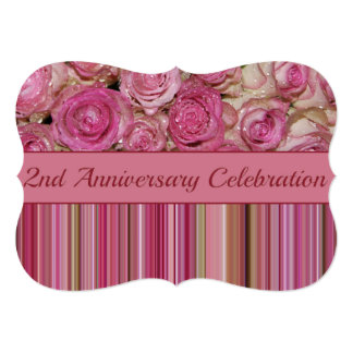 2nd anniversary rose invitation