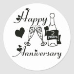 2nd. Anniversary Round Stickers