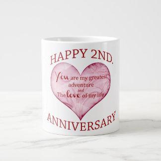 2nd. Anniversary 20 Oz Large Ceramic Coffee Mug
