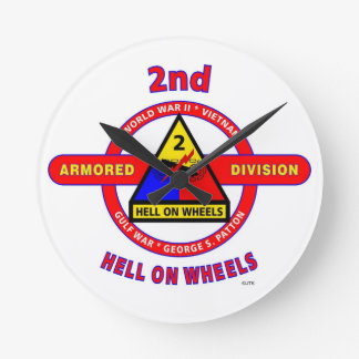 """2ND ARMORED DIVISION """"HELL ON WHEELS"""" WALLCLOCKS"""