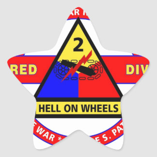 """2ND ARMORED DIVISION """"HELL ON WHEELS"""" STAR STICKERS"""