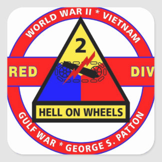 """2ND ARMORED DIVISION """"HELL ON WHEELS"""" STICKER"""