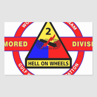 """2ND ARMORED DIVISION """"HELL ON WHEELS"""" RECTANGULAR STICKERS"""