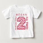 2nd BABY Birthday Big Number A30 PINK CHEVRONS Tee Shirts