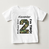 2nd BABY Birthday Big Sports Number A22 CAMO Baby T-Shirt