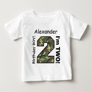 2nd BABY Birthday Big Sports Number A22 CAMO Baby T Shirt