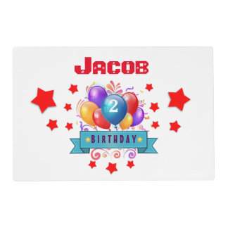 2nd BABY Birthday Festive Colorful Balloons B10IZ Placemat