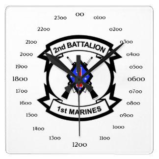 2nd Battalion 1st Marines Square Wall Clock