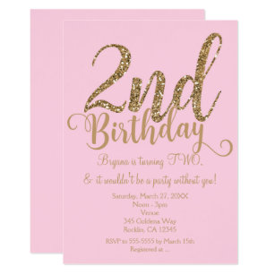 2nd BIRTHDAY 2 Pink Gold Party TWO Invitations