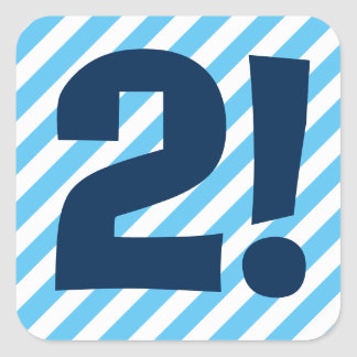 2nd Birthday 2 Year Old Blue Stripes A03B Square Sticker