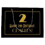 "[ Thumbnail: 2nd Birthday — Art Deco Inspired Look ""2"" & Name Gift Bag ]"