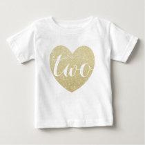 2nd Birthday Baby Girl Glitter heart-Print Baby T-Shirt