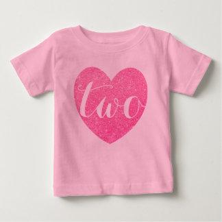 2nd Birthday Baby Girl Glitter heart-Print Pink Baby T-Shirt