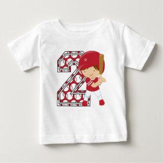 2nd Birthday Baseball Batter Red and White Baby T-Shirt
