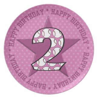 2nd Birthday Baseball Star Pink Polka Dots Dinner Plate