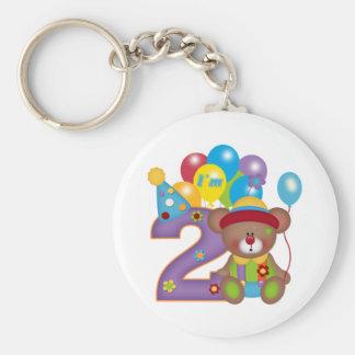 2nd Birthday Bear Clown Birthday Keychain