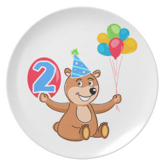 2nd Birthday Bear with Balloons Melamine Plate