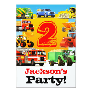 2nd Birthday Big Trucks Party Card