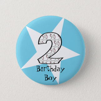 2nd Birthday Blue Baseball Star Button