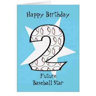 2nd Birthday Blue Baseball Star Card