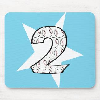 2nd Birthday Blue Baseball Star Mousepad