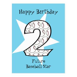 2nd Birthday Blue Baseball Star Postcard