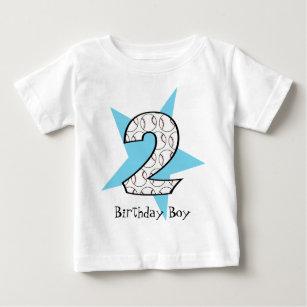 2nd Birthday Blue Baseball Star T Shirt