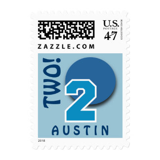 2nd Birthday BLUE Big Numberand Circle C01 Postage Stamp