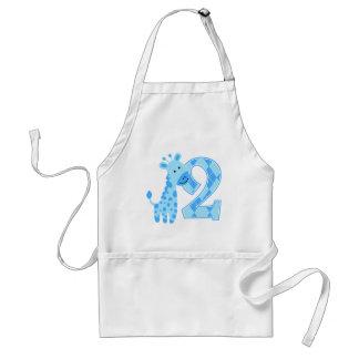 2nd Birthday Blue Giraffe Adult Apron