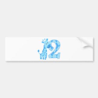 2nd Birthday Blue Giraffe Bumper Sticker