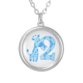 2nd Birthday Blue Giraffe Custom Necklace
