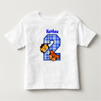 2nd Birthday Blue Plaid Tiger Lion 2 Year Old V4 Toddler T-shirt